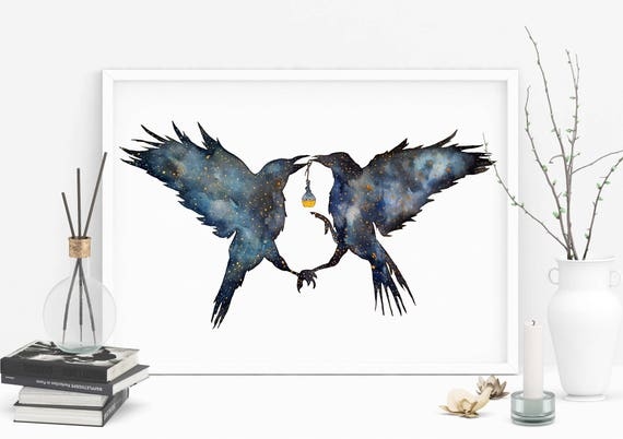 Magic Ravens | Enhanced Paper poster | Shamanic crow | Elixir Potion | Watercolor galaxy | Spirit animal totem | Native American | ZuskaArt