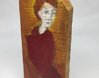 Small painting on wood, decorative gift - young woman on a yellow background