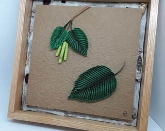 Quilled Leaf and Seed Series - Framed Paper Artistry - Birch