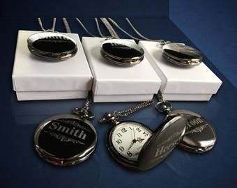 12 Personalized Pocket Watches - 12 Groomsman engraved gifts - Usher & Officiant gifts - Best Man - Father of the Bride - Personalized gifts