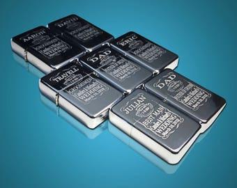 7 Engraved lighters - 7 Custom engraved silver lighters - Personalized Groomsmen gift - 7 Silver wedding gift set -Best man & Groomsman gift