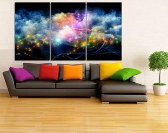 Outer Space Canvas Print, Outer Space Wall Art, Large Space Wall Decor, Neon