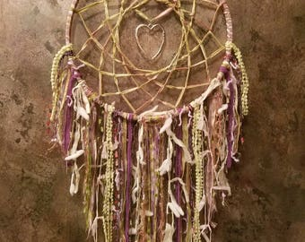 Heart of Dreams~Dream Catcher w/ Antique Silver Heart Charm~Unique Bohemian Dreamcatcher~Shades of Purple, Green & Pink~Boho Wall Hanging