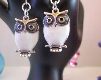 White cute owl dangle earrings