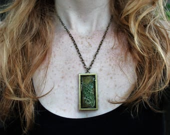 "Pressed preserved moss necklace- (moss from Duluth Minnetosa, 18"" bronze chain)"