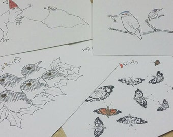 Contemporary UK Wildlife Christmas Cards - Pack of Four