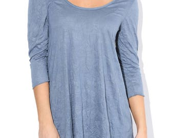 Blue Crinkled Tunic, Vintage Tunic, Scoop Neck Tunic Size S M L XL