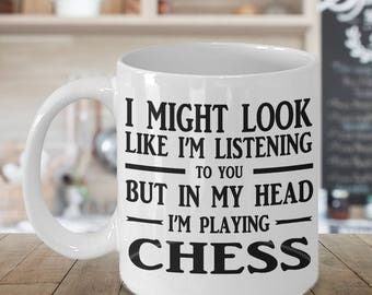 Chess mug, Chess gift, 11 oz coffee mug for anyone who loves chess, Gift for chess lover