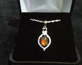 Ammolite Solid Sterling Silver Necklace
