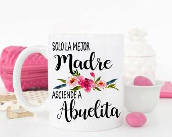 Madre Pregnancy Reveal Mug, Spanish New Abuelita, Gift for Abuelita, Madre Mug, Abuelita, New Grandparents Mug Set, Solo la mejor