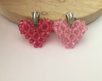 3D Swarovski Crystal Hearts - Necklace Pendant - Give Love - Give a Heart
