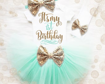 1st Birthday Shirt   1st Birthday Girl Outfit   First Birthday Tutu Set   Cake Smash Outfit   Mint Gold Tutu   Gold Birthday Shirt