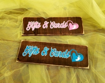 Gifts and Cards sign. Baby Shower wooden sign. Gift table decor. Baby shower decoration. Rustic Baby Shower sign.