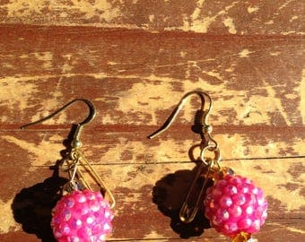 Funky safety pin dangle earrings