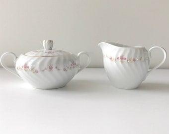 Hand Painted Sugar and Creamer Set, Made in Japan, Vintage, Sugar Bowl, Creamer, Tea Party, Wedding, Bridesmaid Luncheon, Housewarming Gift