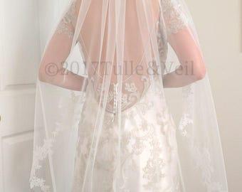 Bridal, finger tip veil - Freda