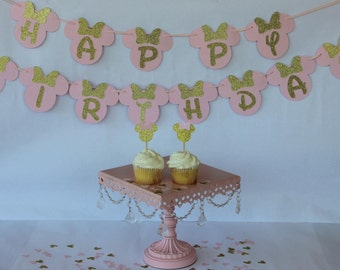 Pink Minnie Mouse Birthday - Minnie Mouse Decorations - Minnie Mouse Birthday Banner - Pink and Gold Minnie Mouse Birthday