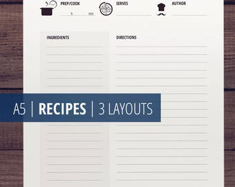 A5 Printable Recipe Cards / Recipe Pages and Templates / Recipe Binder / Recipe Printables / Printable Cookbook / Black & White Download