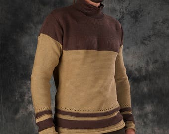 Knitting Cotton Sweater~Men Earthy Clothes~FREE SHIPPING~Tribal Clothing~Hippie Pullover~Festival Psychedelic Wear~Psy Wear~Psy Trance Goa