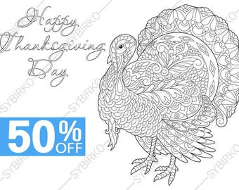 Adult Coloring Pages Thanksgiving Day Turkey Card Zentangle Doodle For Adults