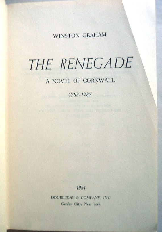 The Renegade: A Novel of Cornwall 1959 by Winston Graham 1st Edition - Hardcover HC - First Book of Poldark Series