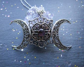 Filigree Triple Goddess Moon necklace, Pagan necklace, Large Pendant, Triple Moon Necklace, Moon, Witch jewelry, Pagan, Wicca, Triple Moon