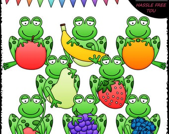 Frogs With Fruit Clip Art and B&W Set