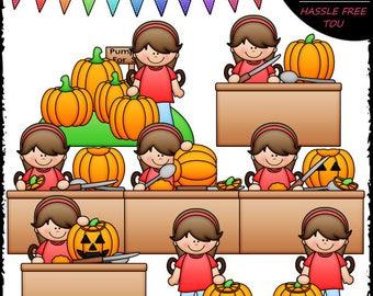 Hannah Carves A Pumpkin Clip Art and B&W Set