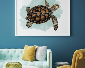 Sea Turtle Print, Sea Turtle Painting, Sea Turtle, Sea Turtle Decor, Beach Decor, Sea Life Art, Living Room Wall Art, Bedroom Wall Art