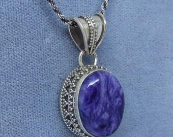 Small Genuine Charoite Pendant or Necklace - Sterling Silver - Victorian Filigree Design - Boho Tribal - JY161908