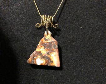 Crazy Lace Agate Pendant with Gold-plated wire and Gold-filled chain.  CLA 9