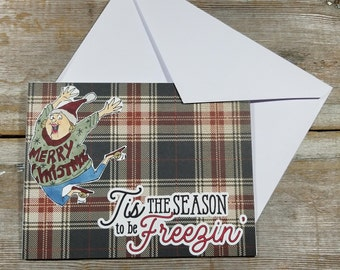 Christmas Card Plaid - Holiday Cards Funny - Plaid Cards - Tis the Season Card - Plaid Holiday Cards - Greeting Card Funny - Card for Friend