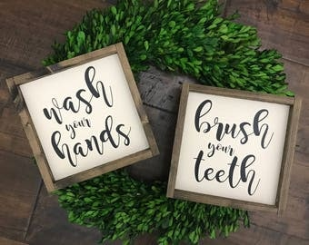 Wash Your Hands Brush Your Teeth | Bathroom Decor | Bathroom Sign | Wood Framed Sign | Farmhouse Sign | Farmhouse Decor | Bathroom Wall Deco
