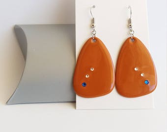 Earrings dark orange earrings, Stud Earrings triangle earrings with Swarovski crystals, gift for MOM, cheap jewelry