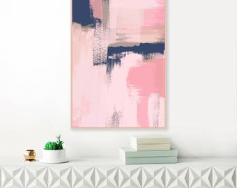 Abstract Art, Pink and Navy Painting, Pink and Blue Wall Art, Large Downloadable wall Art, Modern Printable Art, Original Art Print