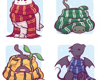 Hogwarts Creatures in Scarves Stickers and/or Print (8x8, 6x6) Gryffindor, Hufflepuff, Ravenclaw, Slytherin