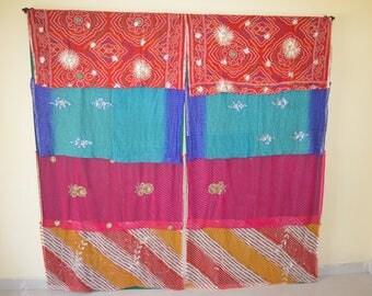 Indian curtain room divider window curtain  hippy gypsy curtain door curtain blue boho shower curtain saree curtains reversible curtain SB19
