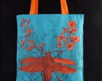 titanus giganteus insect majestic, orange, original drawing, fabric print