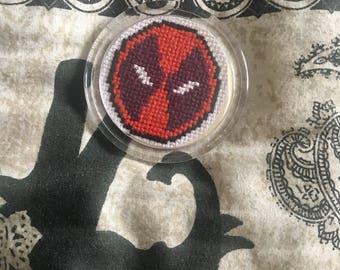 Deadpool Fridge Magnet - Deadpool Cross Stitch - Marvel