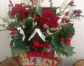 Special Delivery Cardinal Christmas Floral Arrangement