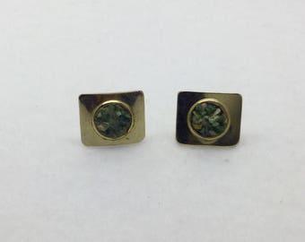 Gold tone jade inlay cufflinks set #200