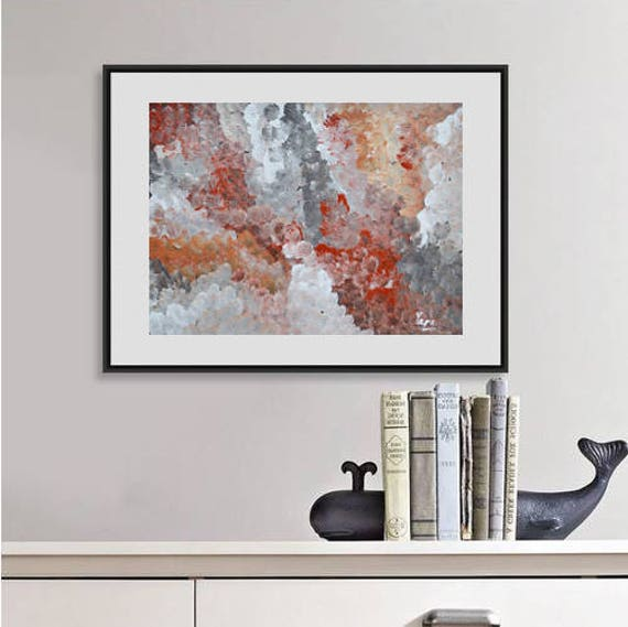 Red wall art decor taupe