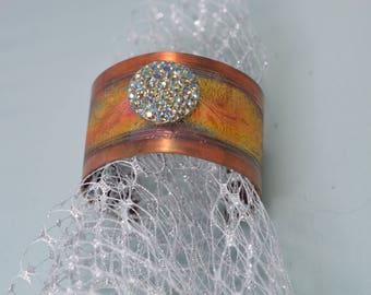 Etched Copper Cuff Bracelet Featuring Vintage Rhinestone Button