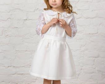Custom made dress, communion dress, flower girl dress, collar baby dress, white baby dress, lace dress, lace sleeve, boho flower girl