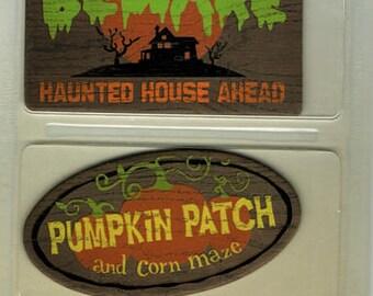 Halloween Outdoor Chipboard Signs Karen Foster Scrapbook Embellishments Cardmaking Crafts