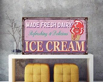 Ice Cream Signs, Made fresh dairy, Refreshing and Delicious, Ice cream sign, Ice Cream, Iron sign, Sign, Art Prints, Metal Sign, Iron decor