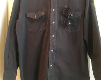 Wrangler Original 90's Black Denim Work Shirt Size Large Long Tails
