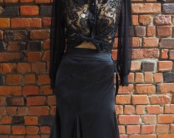 Women's 90s Just Cavelli Black Silk Midi Skirt With Asymmetric Ruffle Hem And Silver Waist Buckle Size Large