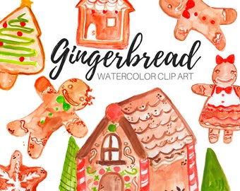 Gingerbread clip art - Watercolor clip art - Cookie clip art - Christmas clip art - Commercial Use