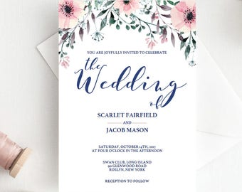Floral Wedding Invitation Template Download Watercolor Flowers Wedding Invite Printable Wedding Invitation Boho Wedding Invitation PDF SPG1